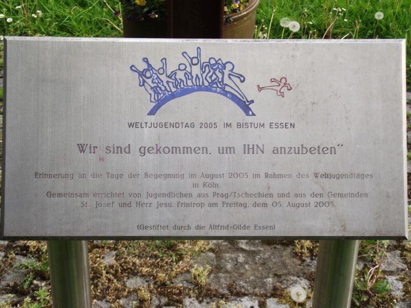 Gedenktafel Weltjugendtagskreuz; Frintriper Str./Schlossstr.